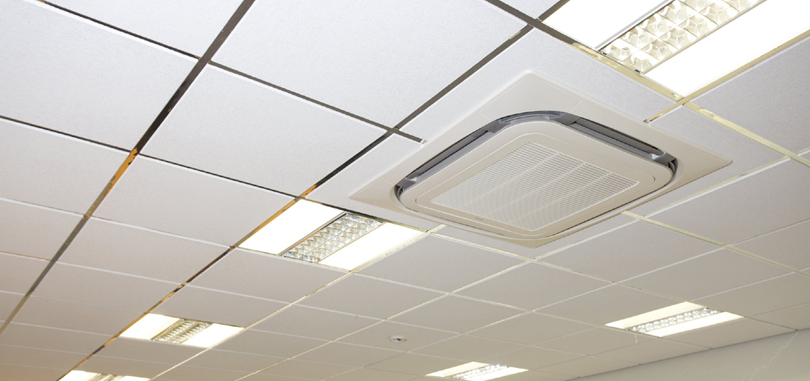Air conditioning with lighting fixture