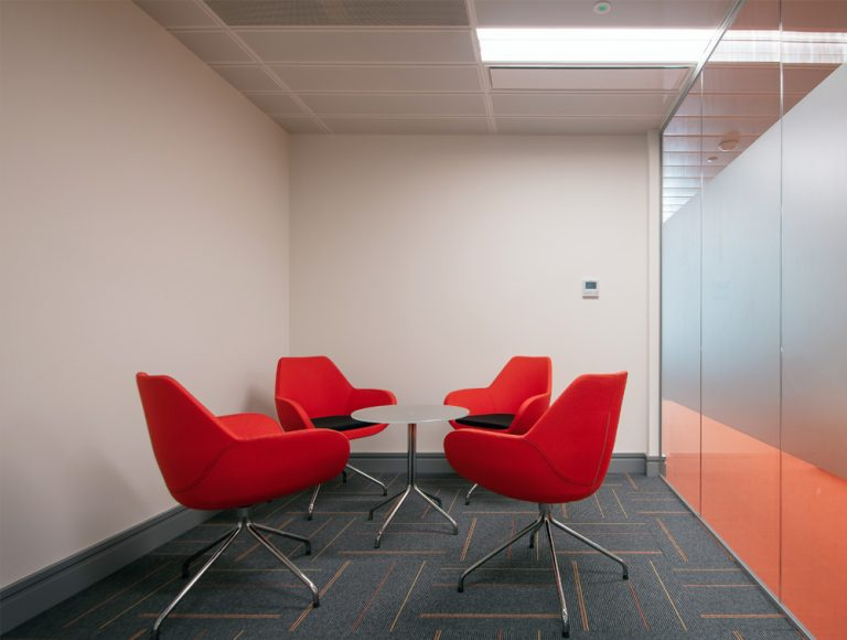 Apex Office Layout Meeting Room Orange Tub Meeting Chairs with Round Glass Table in Swivel Base