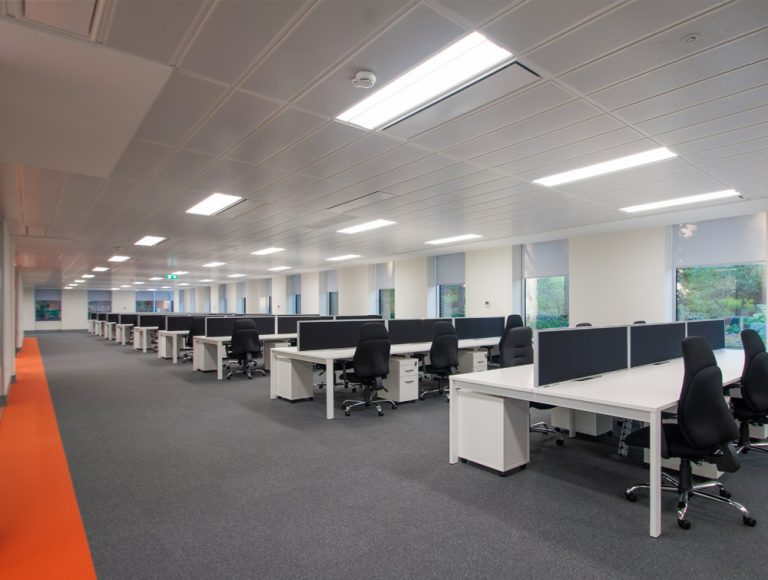 Apex Office Layout White Back to Back Desks along with Pedestals and Blue Desk Screens and Office Chairs