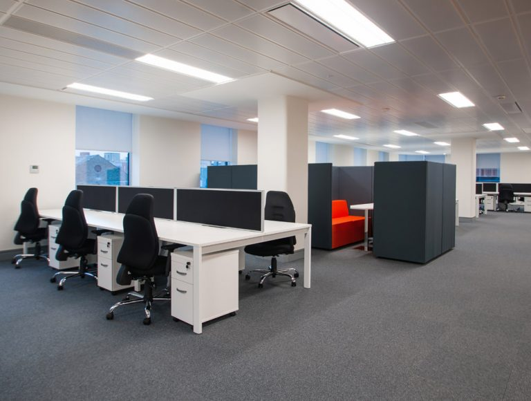 Apex Office Layout White Back to Back Desks with Pedestals and Kleiber