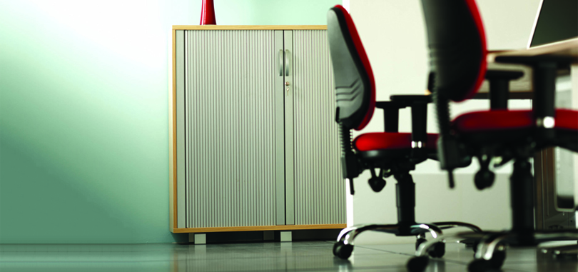 Komo tambour desks with red office chairs