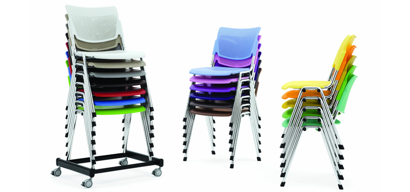 Plastic chairs in several colours