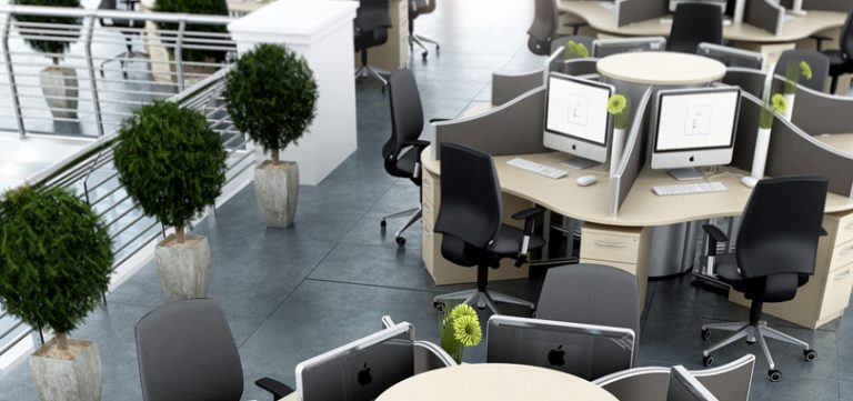 Call-centre-desks-circular-workstation-with-pedestal