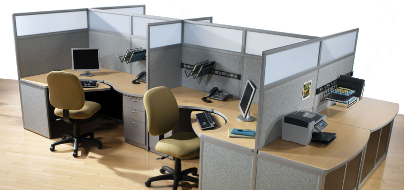 Call centre desks with modesty panel and front screen