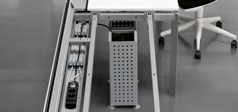 Data cabling open plan area cable management