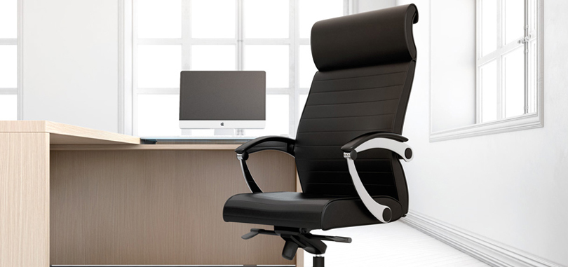 Executive office seating in black with armrest