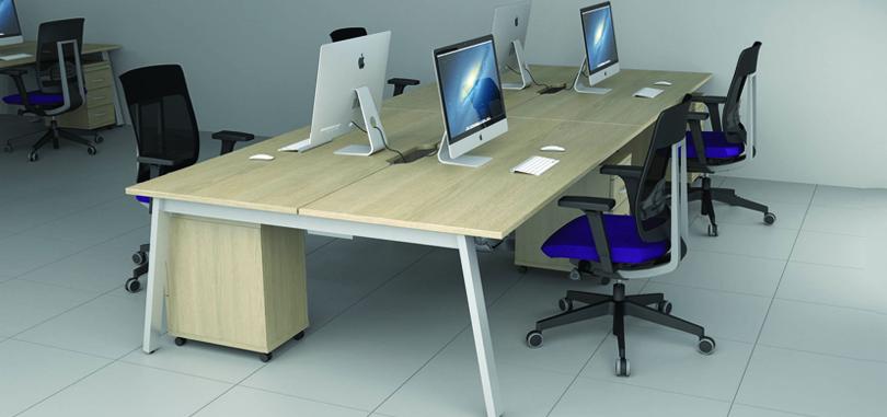 A fourway beech desk
