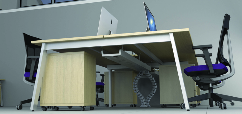 Beech desk underside view