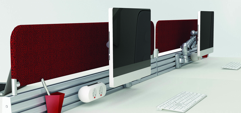 Modular bench office desks silk front panel monitor holder