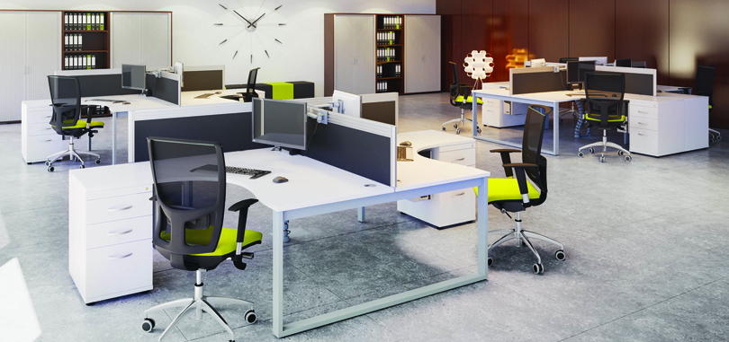 Modular bench office desks with pedestal and fabric front screen