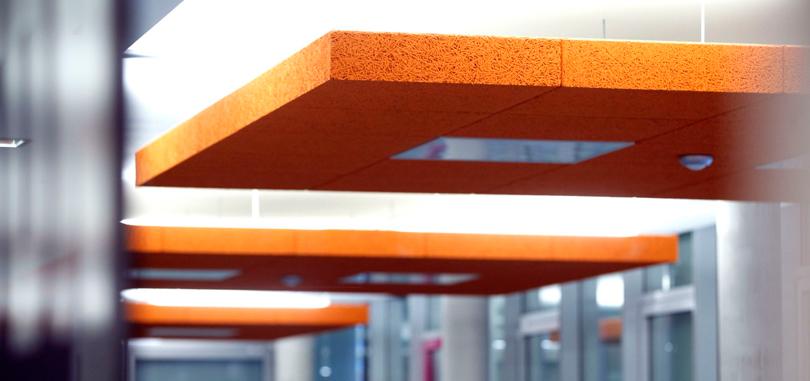 Office ceiling rafts acoustic panel in orange