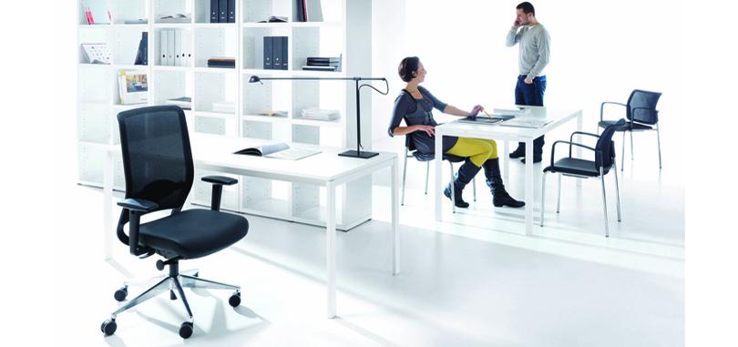 Black ergonomic office chair with armrest