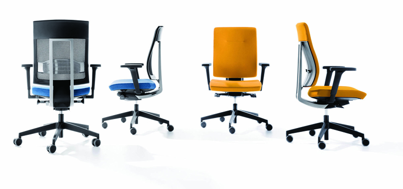 Blue and Yellow Office Chairs with armrest