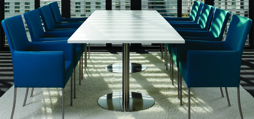 Blue conference room chairs