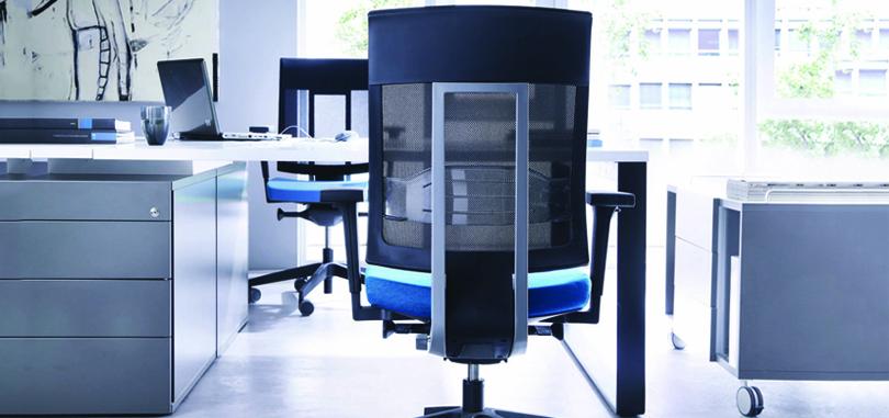 Blue ergonomic chair with armrest