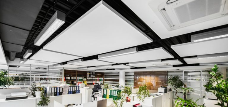 Office-ceiling-rafts-in-white