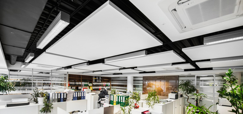 Office ceiling rafts in white