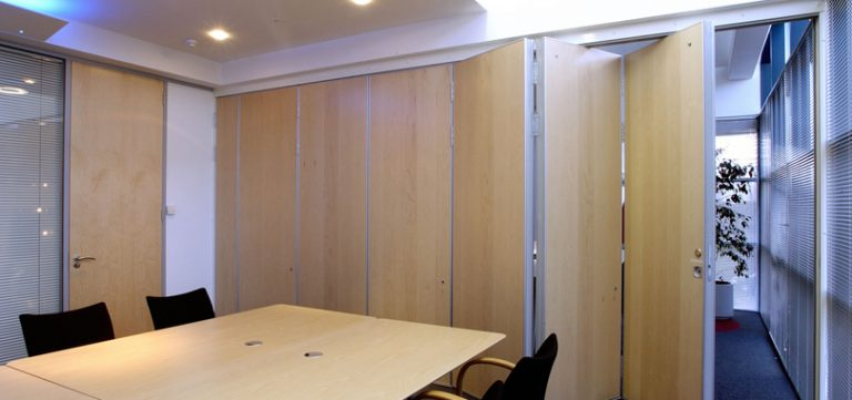 Office Folding Partitions in wooden finish