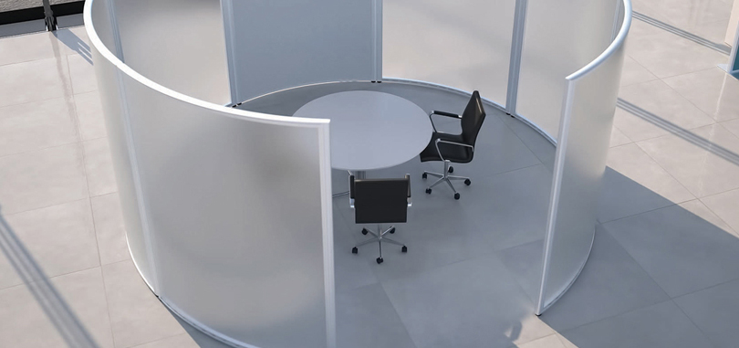 Office meeting room with glass cover and round table