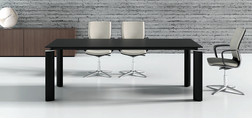 Office meeting room in black rectangular table with glass top