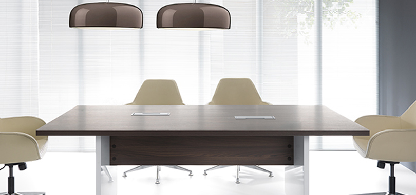 Office meeting room in rectangular table with modesty panel