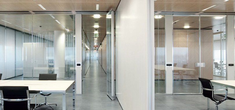 Office sliding partitions wood white