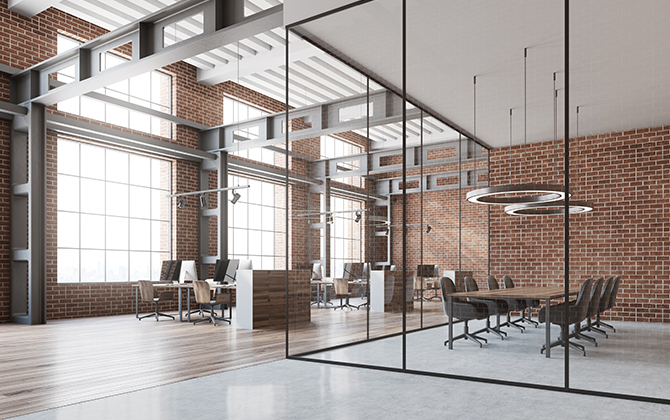 Open Office plan with a glass partition meeting room