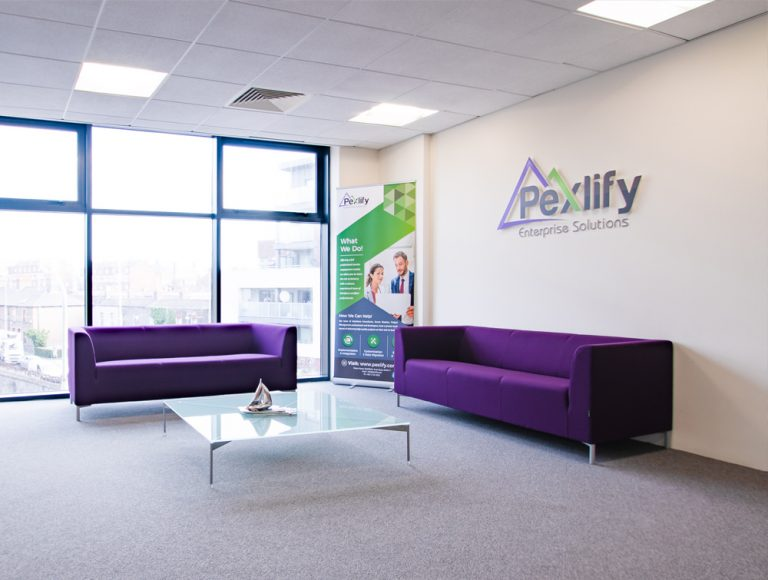 Pexlify Office Layout Purple Reception Seating Radius Office