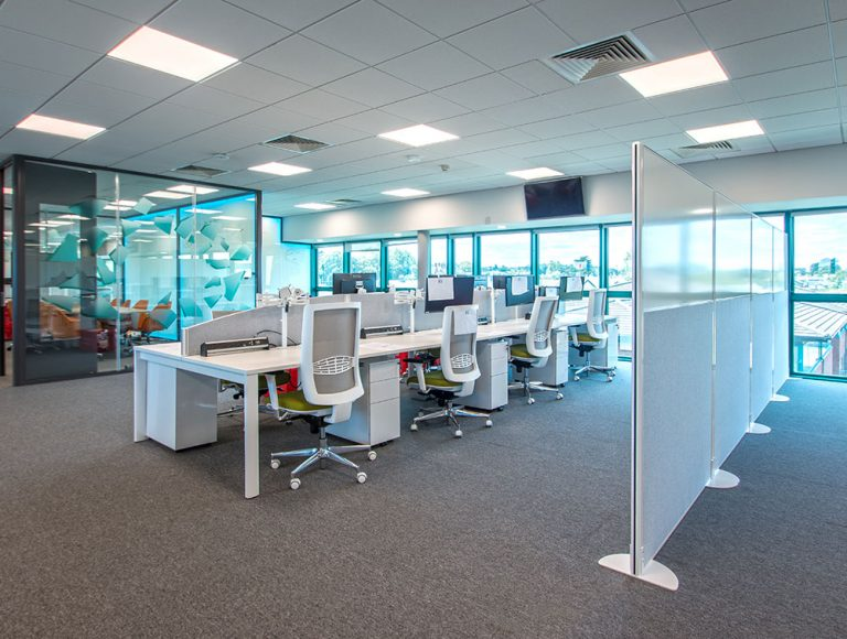 White Privacy freestanding screens in an open office floor