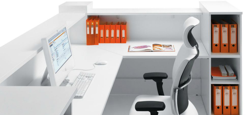Reception Desks Furniture counter with bookcase and cable management system