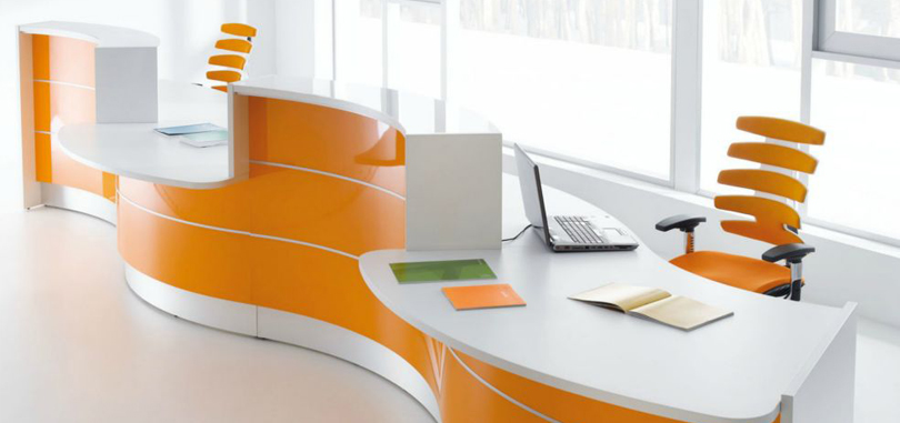 Reception Desks Furniture with orange and white accent