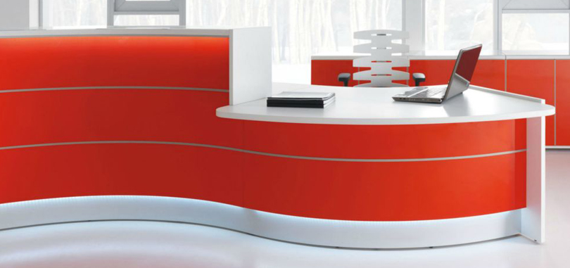 Reception Desks Furniture in red and white with lighting accent