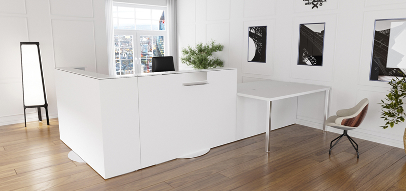 Reception Desks Furniture in white with metal leg