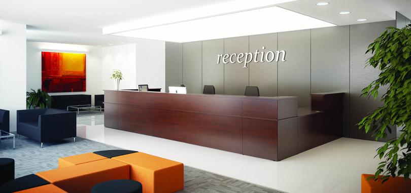 Reception room with a dark wallnut reception desk