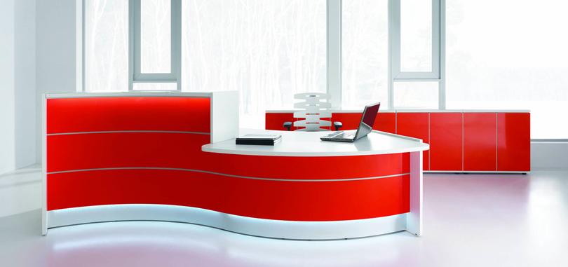 Reception room with a white orange wavy reception desk