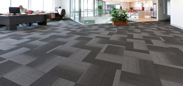 Reception carpet grey geometrical design