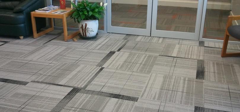 Reception Carpet Grey Geometric Design