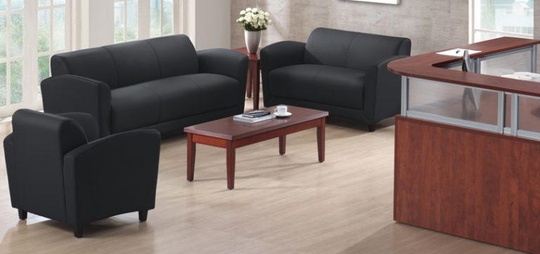 Reception-tables-furniture-dark-brown-wood-black-sofa