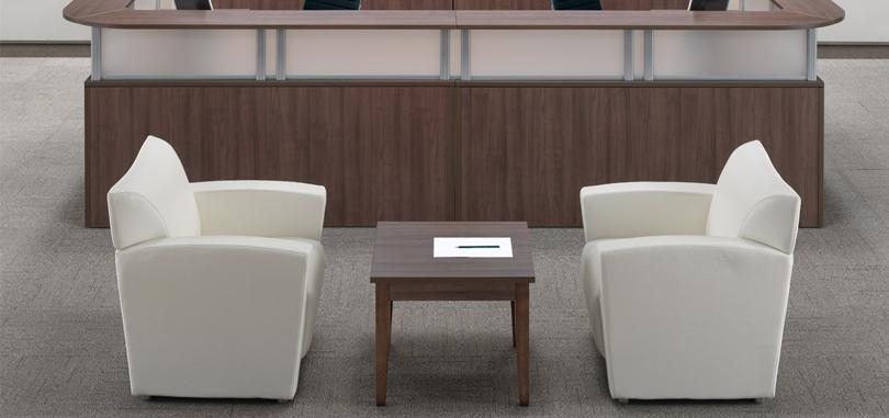 Reception tables furniture dark brown wood