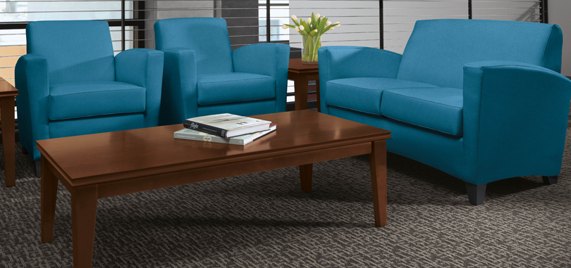 Reception tables furniture rectangular brown with blue couch