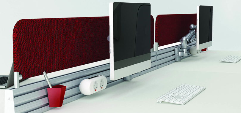 Close up of red desk screen