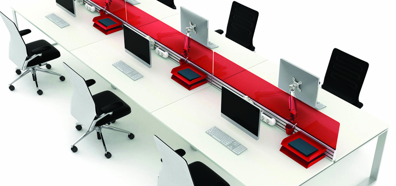 Straight red desk screen in a white table