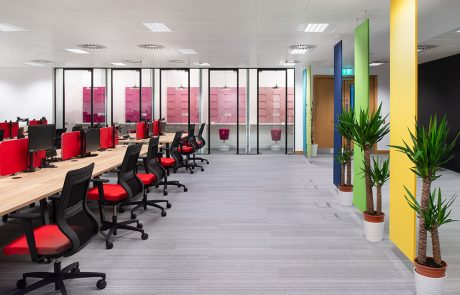 Social-Talent-Office-Layout-Acoustic-Phone-Booths-with-Mickey-Stool-and-Fluffo-Acoustic-Panels
