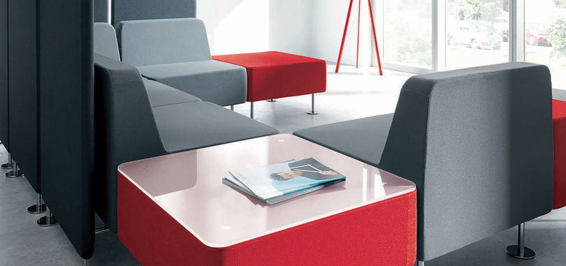Soft Seating Office Furniture in black and white colour with grey and red seats with side table
