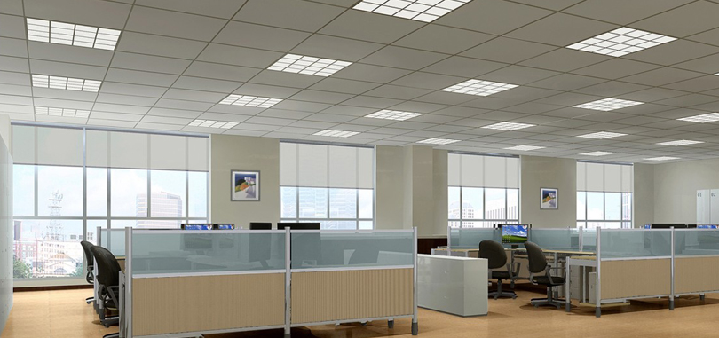 Suspended Ceiling Tile in Beige Color with Square Shapes