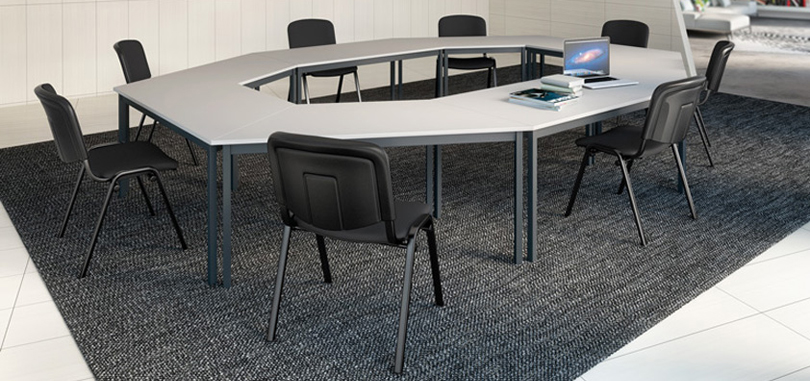 Trapezoidal multipurpose table for training meeting room