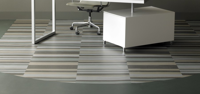 Vinyl flooring grey in stripes for meeting room offices