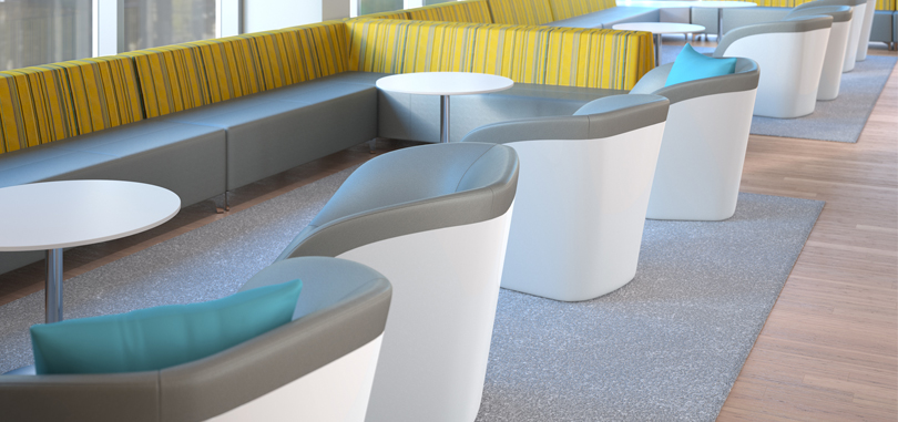 breakout furniture in blue and grey