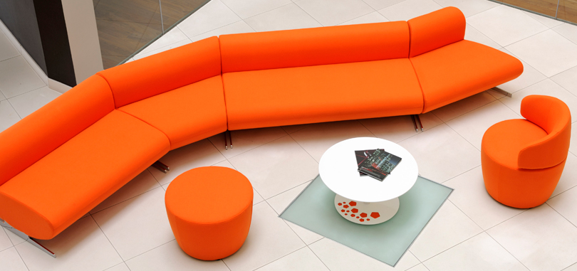 breakout furniture orange long couch