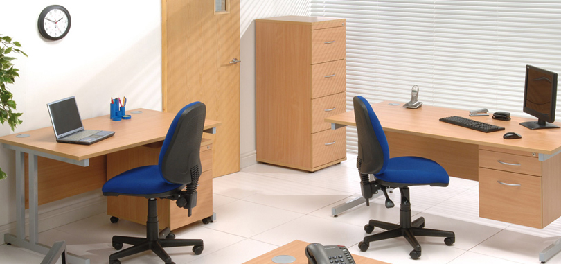 budget office desk single work desk with modesty panel and credenza